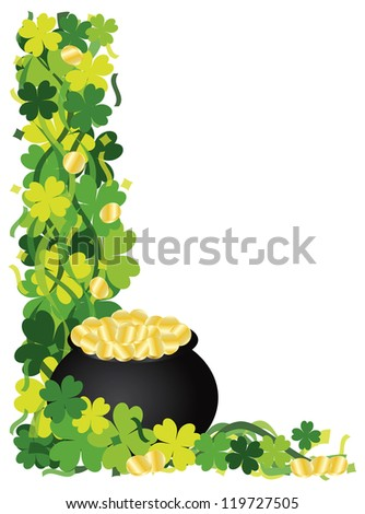 St Patricks Day Irish Lucky Four Leaf Clover with Pot of Gold and Confetti Border Raster Vector Illustration
