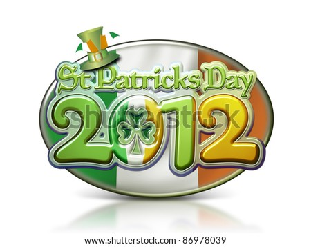 St Patricks Day 2012 Oval Graphic with clipping path.