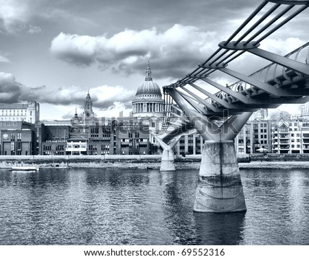St Paul Cathedral in London, United Kingdom (UK) - high dynamic range HDR - black and white