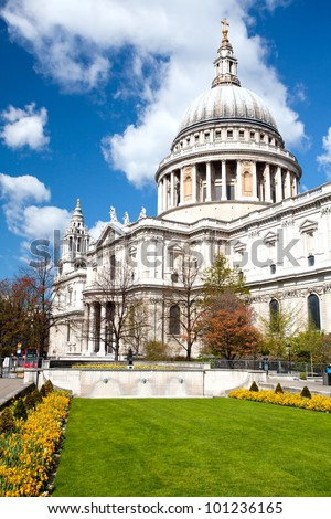 St. Paul Cathedral with garden in London England United Kingdom, Vertical