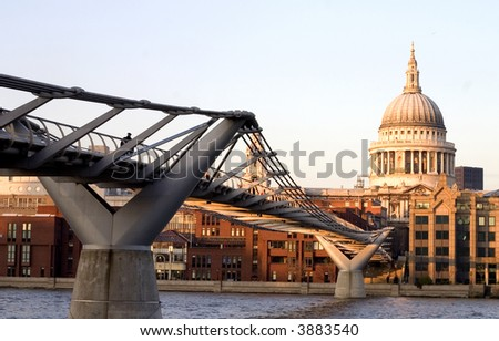 St.Paul Cathedral with Thames River Millennium Bridge. View from Tate Modern