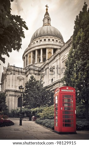 St Paul's Cathedral and a classic red British telephone box in London
