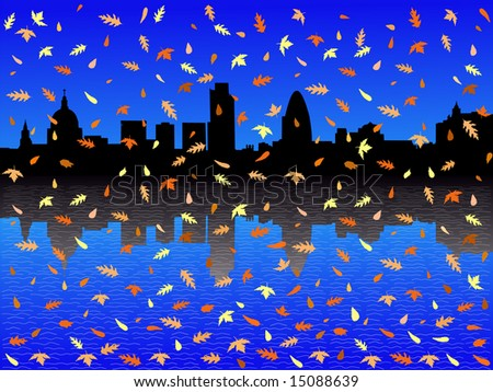 St Paul's cathedral and London skyscrapers in autumn JPG