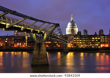 St Paul's Cathedral and the Millenium bridge at dusk, London