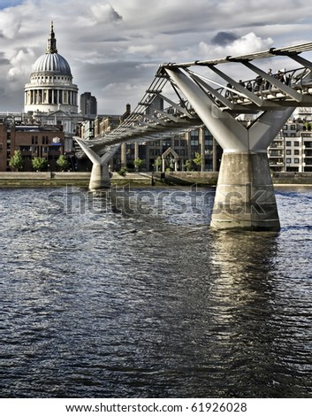 St. Paul's cathedral and the Millennium bridge, London