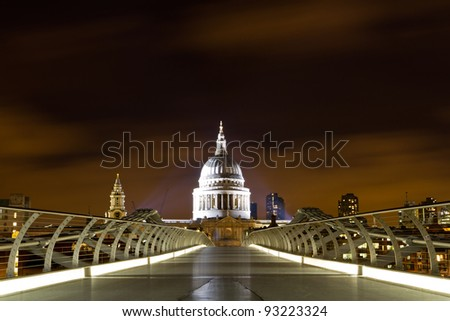 St Paul's Cathedral from Millenium Bridge across the River Thames, London