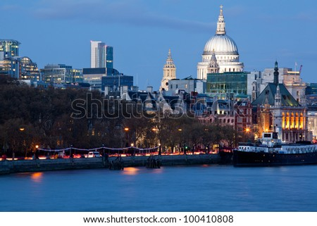 St Paul's Cathedral in London at night with River Thames England UK
