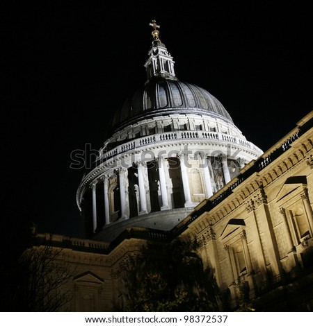 St Paul's Cathedral locates at the top of Ludgate Hill in the City of London - stock photo