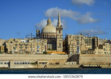 St Paul's Pro-Cathedral dominating the skyline of Valletta, Malta  Stock photo ©