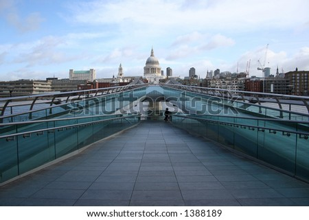 St Pauls cathedral and Millenium bridge, London - stock photo