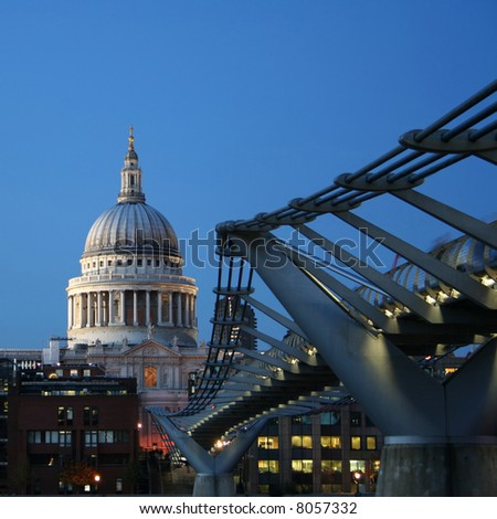 St Pauls cathedral and Millennium bridge, London at night