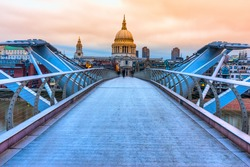 St. Pauls cathedral and Millennium Bridge, London, UK