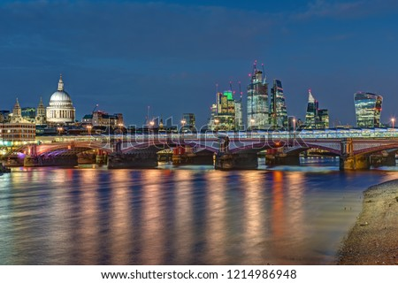 St Pauls cathedral, Blackfriars Bridge and the City of London at night