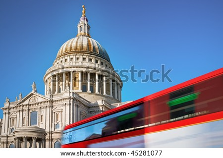 St. Pauls Cathedral, London. St. Pauls cathedral with motion blured double decker bus.