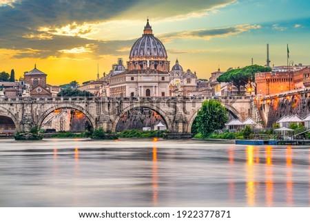 St.Peter's basilica and Ponte Vittorio Emanuele II bridge in Vatican, Rome.Italy Stock photo ©