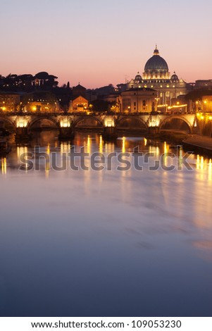 St. Peter's Basilica in Rome - Tiber River on foreground