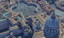 St. Peter's Basilica in the Vatican from a bird's eye view