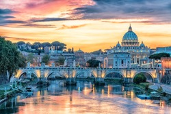St Peter's basilica in the Vatican viewed from a Rome bridge