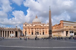 St. Peter's Basilica on St. Peter's square in Vatican, center of Rome, Italy