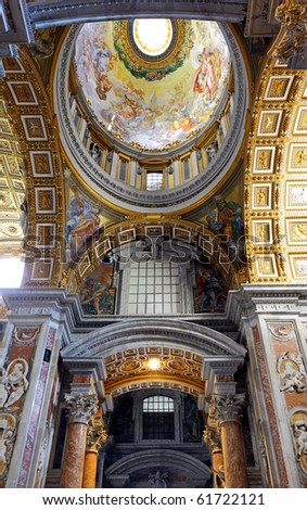 St. Peter's Basilica, St. Peter's Square, Vatican City. Indoor interior.