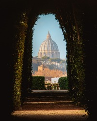 st peter's basilica view through a key hole in rome italy