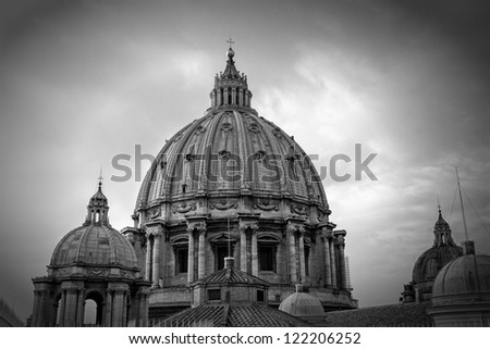 St. Peter's cathedral in Rome, Italy, BW