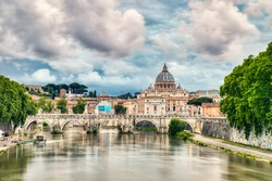 St. Peter's Cathedral in Rome with Cloudy Sky, Italy