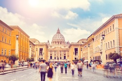 St. Peter's square (Basilica) in Vatican City, Rome, Italy