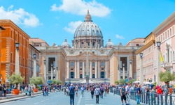 St. Peter's square in front of St. Peter's Basilica - a grandiose elliptical esplanade created in the mid seventeenth century by Gian Lorenzo Bernini.