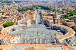 St. Peter's Square, Piazza San Pietro in Vatican City. Italy. View from St. Peter's Basilica dome