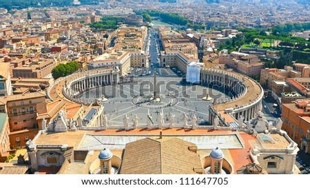 St.Peter Square from roof of St.Peter Basilica, Rome, Italy
