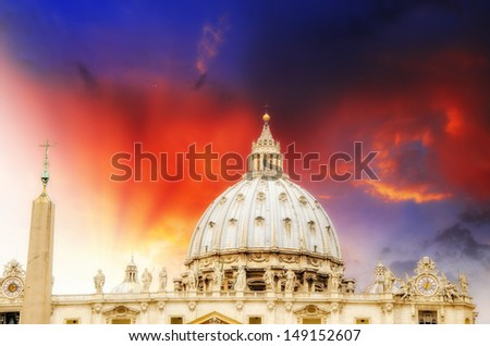 St Peter Square - Vatican City. Wonderful view of Dome - Cupola di San Pietro .