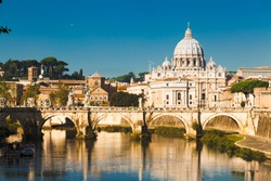 St Peters basilica and river Tibra in Rome, Italy