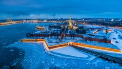 St. Petersburg in the winter. View of the Peter and Paul Fortress. Neva River. Russia. The panorama of the river is not in Petersburg. Architecture of Russia. The ice is on the river Neva.