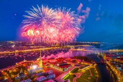 St. Petersburg. Neva River. Peter-Pavel's Fortress. Panorama of Petersburg. Architecture of Petersburg. Russia. Bridges in St. Petersburg. Architecture of Russia. Holidays. Fireworks.