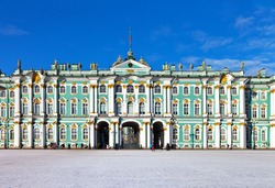 St. Petersburg. Palace Square. Winter Palace, State Hermitage Museum on a sunny winter day