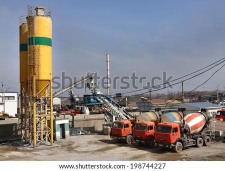 St. Petersburg, Russia - April 27, 2009: A concrete batching plant for ready-mix concrete truck, industrial production concrete, concrete batch plant manufacturer.