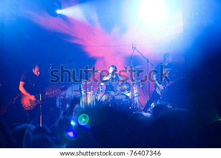 "ST. PETERSBURG, RUSSIA - APRIL 19: Group ""Guano Apes"" in concert on April 19, 2011 in St Petersburg, Russia"