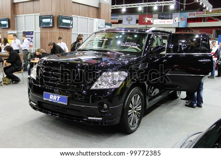 "ST. PETERSBURG, RUSSIA - APRIL, 5: Nissan Patrol is on display at ""Automobile world-2012 "" annual car exhibition on April, 5, 2012 in St.Petersburg, Russia."