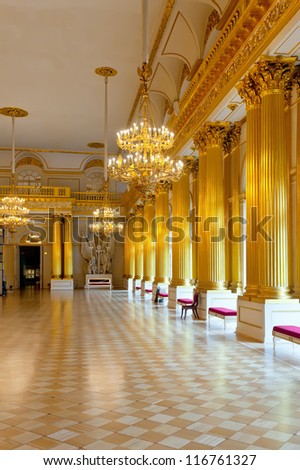 ST.PETERSBURG, RUSSIA - AUGUST 1: Interior of State Hermitage in August 1, 2012 in St.Petersburg, Russia. State Hermitage was founded in 1764. Now it is largest in Russia and one of largest museums