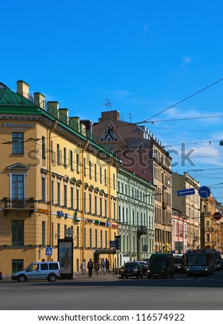 ST.PETERSBURG, RUSSIA - AUGUST 3: Malaya Morskaya street in historic part of city in August 3, 2012 in St.Petersburg, Russia.  The city was founded in 1703, is now the second largest city in Russia