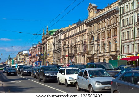 ST.PETERSBURG, RUSSIA - AUGUST 3: Nevsky Prospect in August 3, 2012 in St.Petersburg, Russia. Prospect came shortly after founding of city in 18th century. Now it is main street, length of 4.5 km