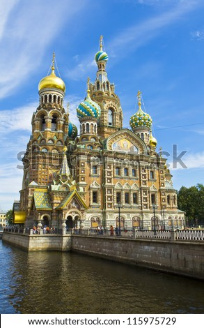St. Petersburg, Russia, cathedral of Resurrection of Jesus Christ (Saviour on blood), unidentified people on the street.