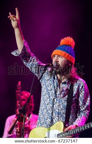 """ST. PETERSBURG, RUSSIA - DECEMBER 2: Sergey  Shnurov, group leader 'Leningrad', performs at Gala concert in honor of the title """"Champion of Russia Cup 2010"""" Zenit """" on December 02, 2010 in St.Petersburg, Russia"""