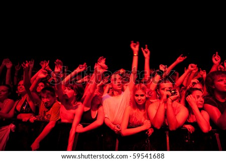 "ST. PETERSBURG, RUSSIA - JULY 14: Crowd watch GROUP ""BULLET FOR MY VALENTINE""  On July 14, 2010 in St Petersburg, Russia"