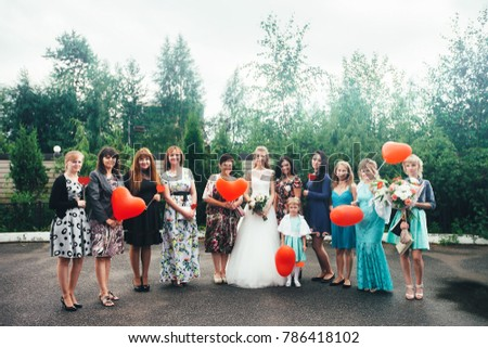 ST PETERSBURG, RUSSIA - JULY 15, 2017: Wedding Event. Wedding Couple Bride and Groom with Friends and Relatives in the Wedding Palace during the Wedding Ceremony #786418102