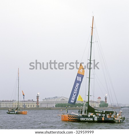 ST. PETERSBURG, RUSSIA, JUNE, 27, 2009: 'Ericsson 3' and 'Ericsson 4'  yachts, member of  Volvo Ocean Race finished in Neva River, near Peter and Paul Fortress, June 27, 2009.