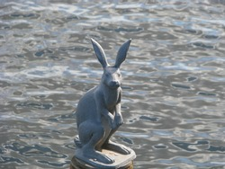 St. Petersburg, Russia, Monument to the hare, who escaped from the flood, at the Ioannovsky bridge in the Peter and Paul Fortress.