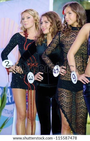 ST. PETERSBURG, RUSSIA - OCTOBER 13: Contestants on the stage during final stage of the contest Russian Beauty on October 13, 2012, in St.Petersburg, Russia