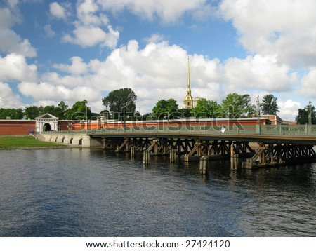 St. Petersburg, Russia, river Neva and The Peter and Paul Fortress, Summer